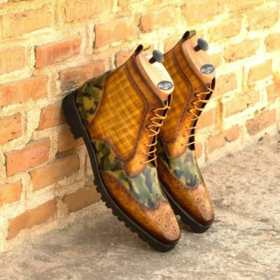 Custom Made Men's Military Brogue Boot in Italian Calf Leather with a Cognac and Khaki Camo Hand Patina