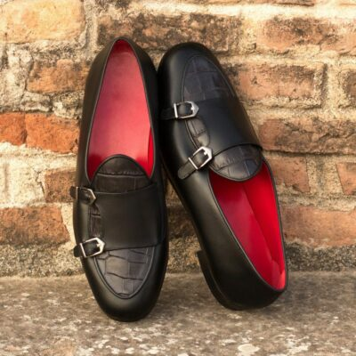 Custom Made Men's Monk Slippers in Black Painted Calf and Black Croco