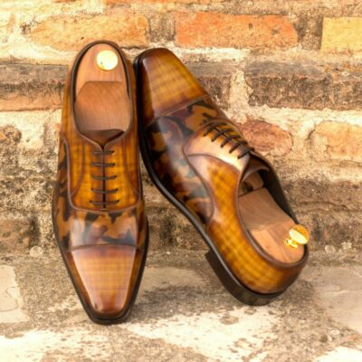Custom Made Men's Oxford in Italian Calf Leather with a Cognac and Brown Camo Hand Patina Finish