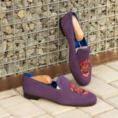 Custom Made Men's Wellington Slippers in Purple Linen with Navy Blue Painted Calf