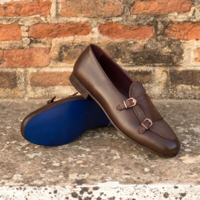 Custom Made Monk Slippers in Dark Brown Painted Calf with Brown Croco and Brown Linen