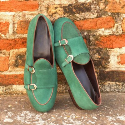 Custom Made Monk Slippers in Forest Green Suede with Dark Brown Painted Calf