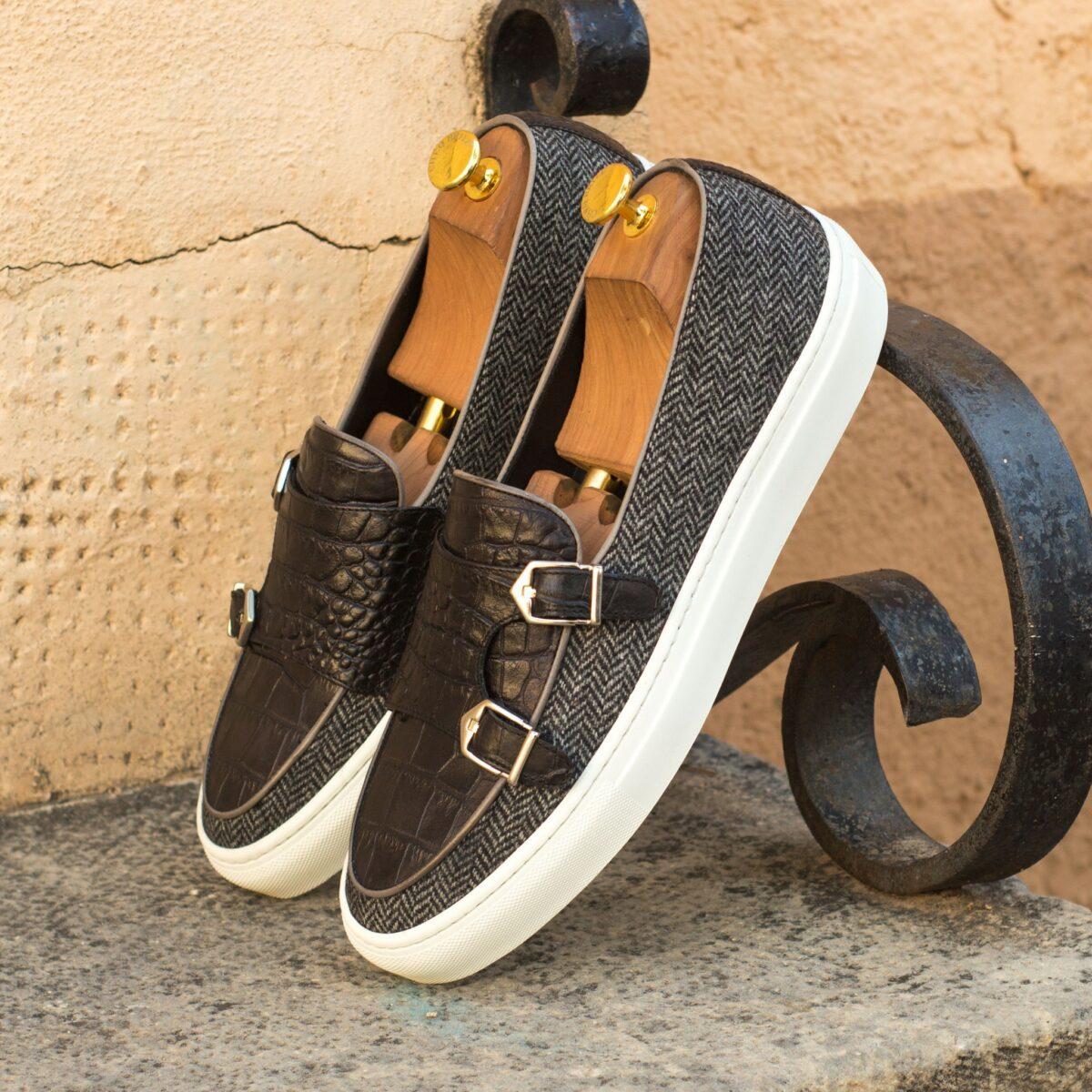 Custom Made Monk Sneakers in Herringbone with Black Croco and Grey Painted Calf