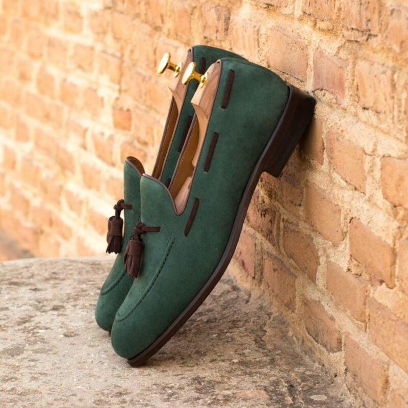 Custom Made Tassel Loafers in Forest Green Kid Suede with Brown Kid Suede Tassels
