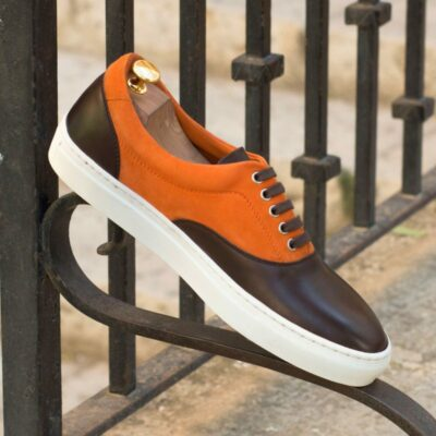 Custom Made Top Sider in Dark Brown Painted Calf Leather and Orange Kid Suede