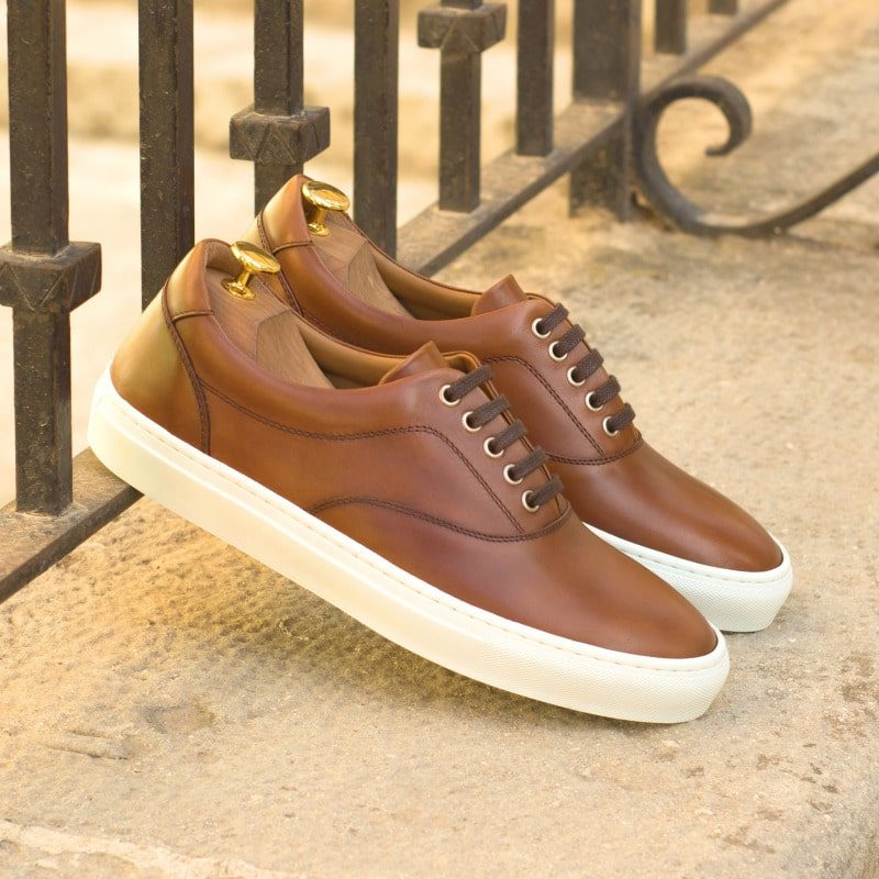 Custom Made Top Sider in Medium Brown Painted Calf Leather