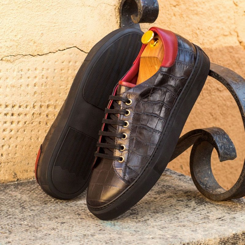 Custom Made Trainers in Black Croco Embossed Calf and Red Painted Calf