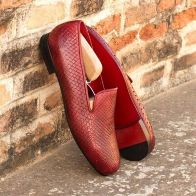 Custom Made Wellington Slippers in Red Genuine Python with Red Painted Calf
