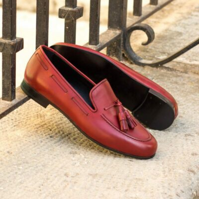 Custom Made Wellington Slippers with Albert Tassels in Red Painted Calf