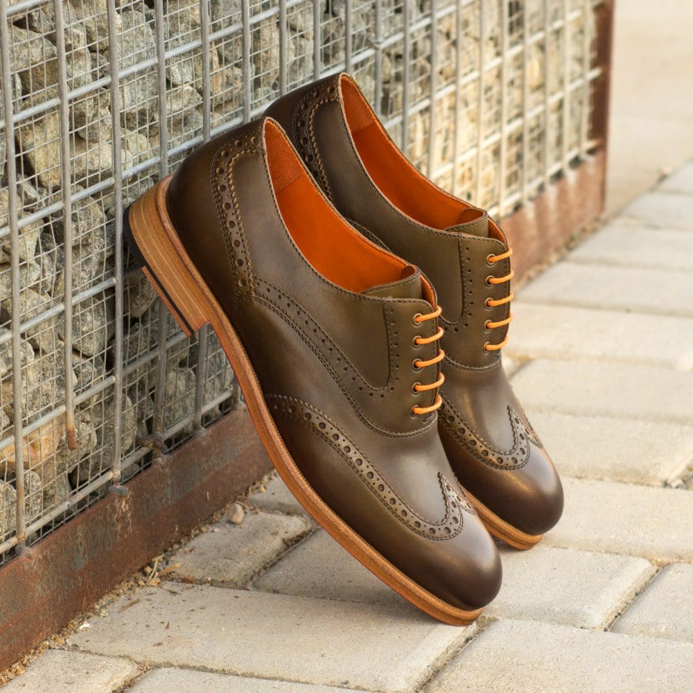 Custom Made Women's Full Brogues in Olive Painted Calf Leather