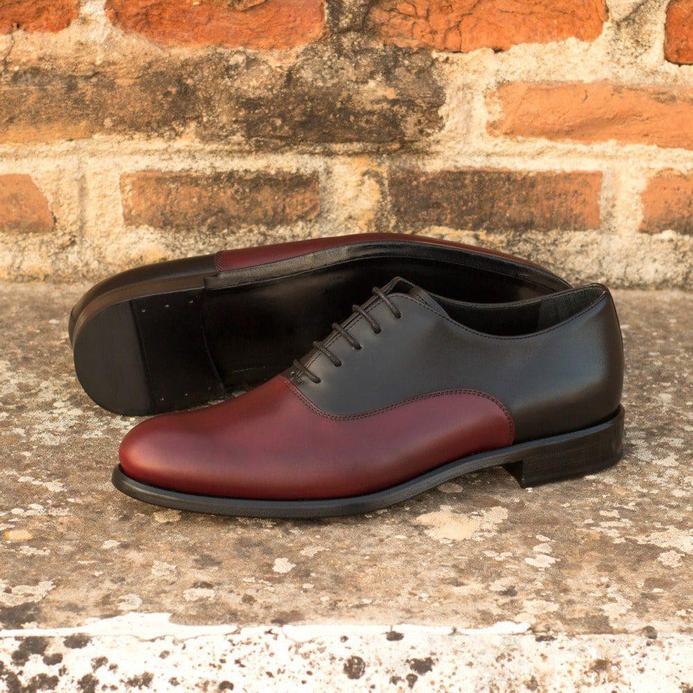 Custom Made Women's Oxford in Black and Burgundy Box Calf