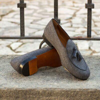 Custom Made Belgian Slippers in Dark Grey Flannel with Black Croco Tassels