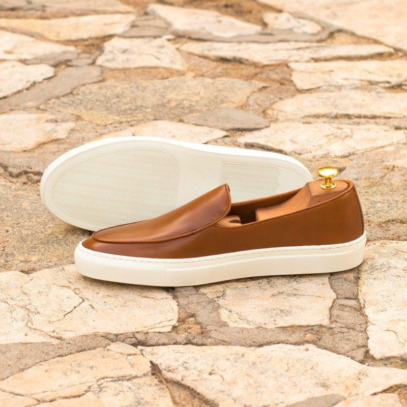 Custom Made Belgian Sneaker in Cognac Box Calf with Cognac Painted Calf