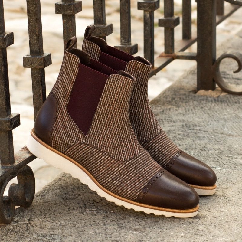 Custom Made Chelsea Boot Multi in Tweed with Dark Brown Painted Calf Leather