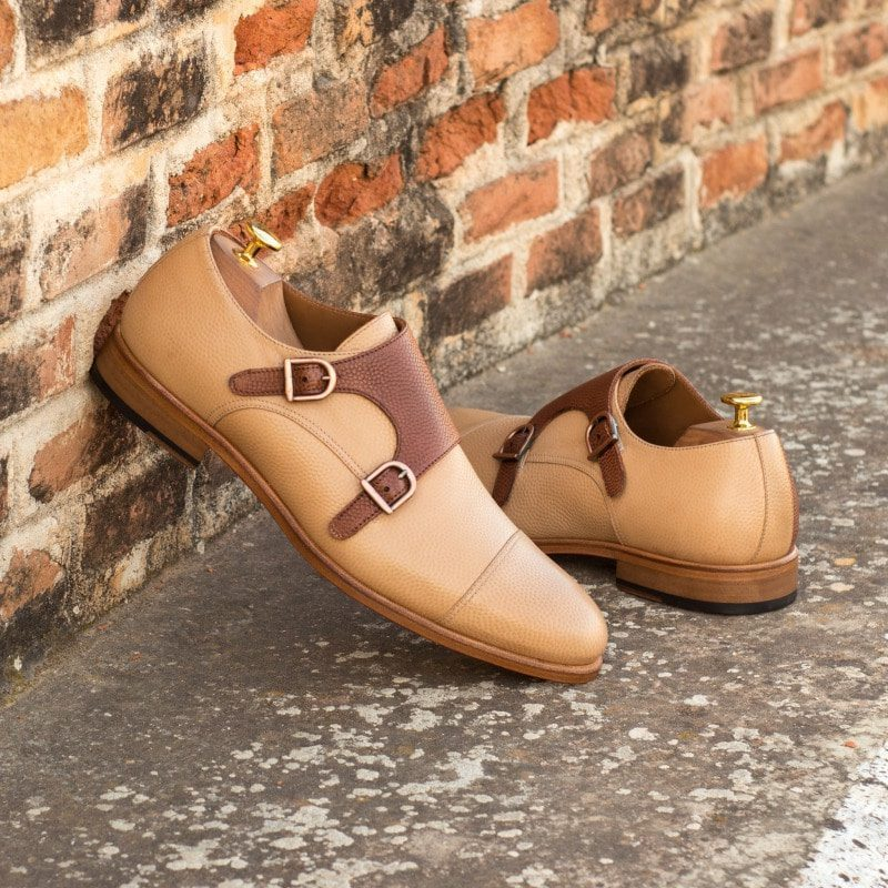 Custom Made Double Monks in Fawn and Medium Brown Pebble Grain Leather