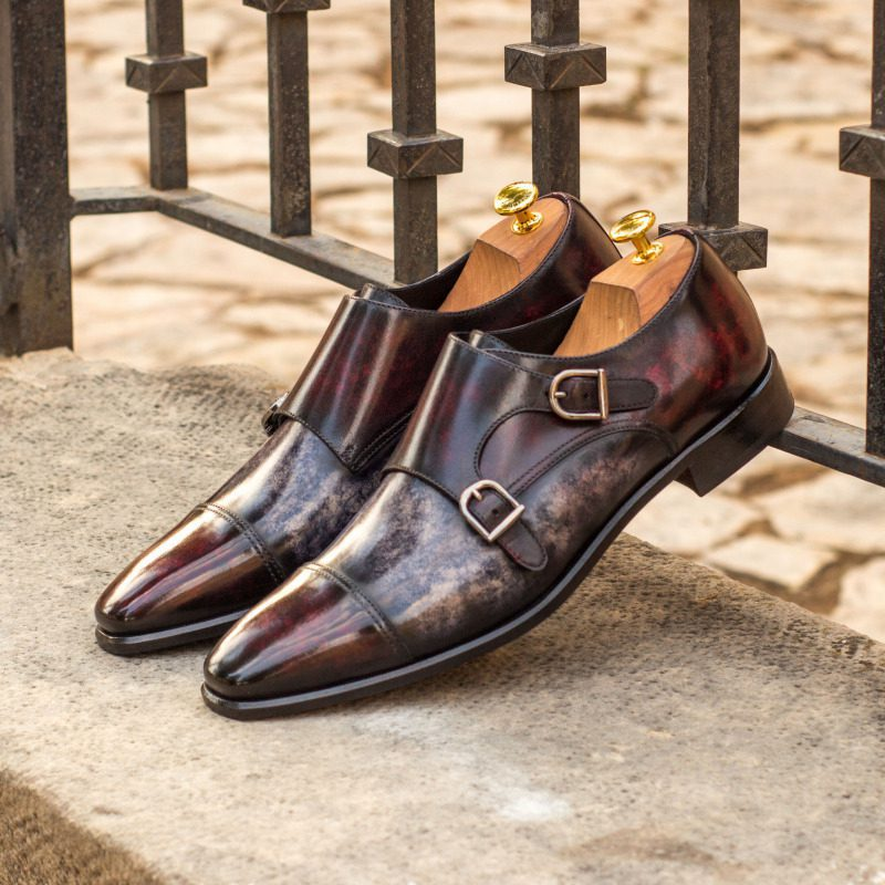 Custom Made Double Monks in Italian Raw Crust Leather with a Burgundy and Grey Marbled Hand Patina