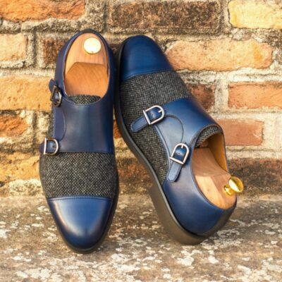Custom Made Double Monks in Navy Blue Painted Calf and Nailhead Wool, with Grey Luxe Suede