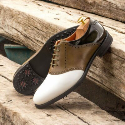 Custom Made Golf Saddle Shoes in White Box Calf, Florantic Military Green Polished Calf and Olive Painted Calf featuring Softspikes®