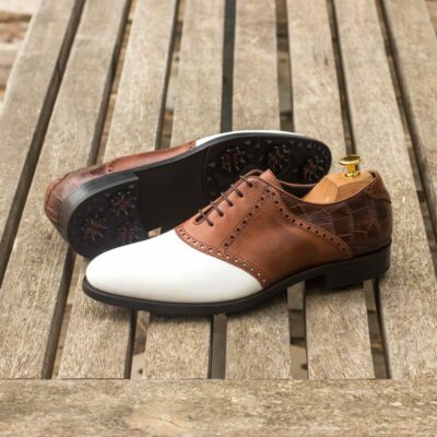 Custom Made Golf Saddle Shoes in White Box Calf, Medium Brown Pebble Grain and Brown Croco featuring Softspikes®