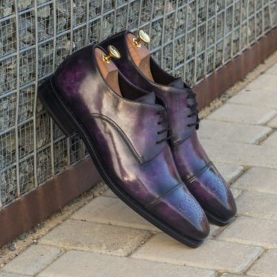 Custom Made Goodyear Welt Derby in Italian Raw Crust Leather with Purple Hand Patina Finish