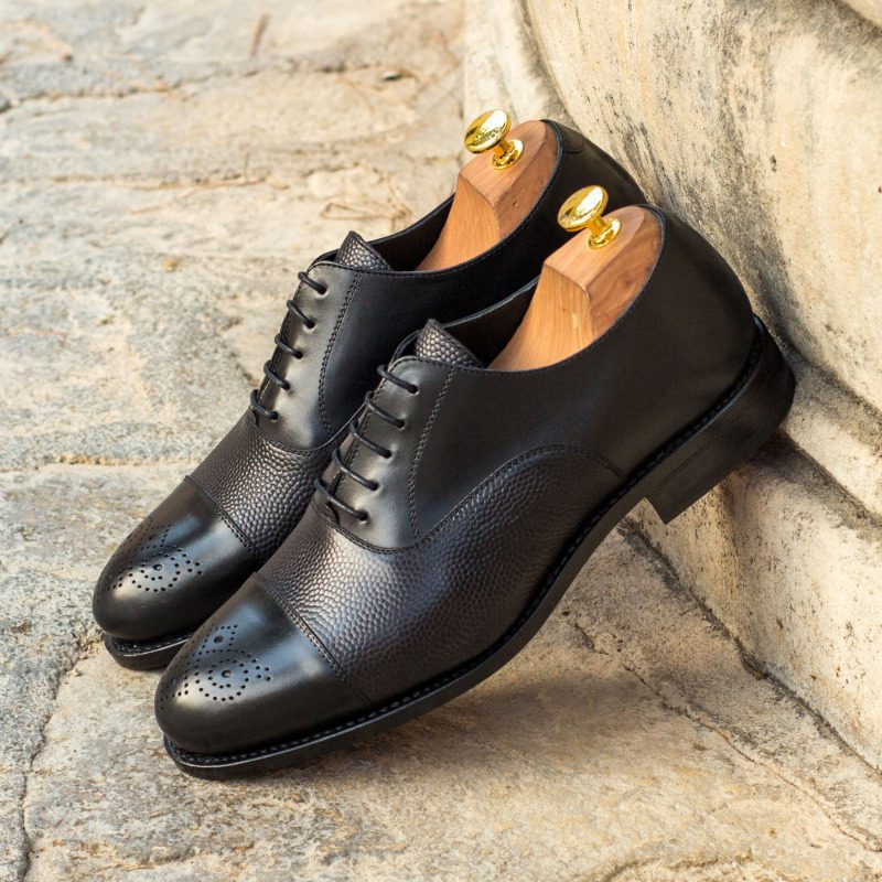 Custom Made Goodyear Welt Oxford in Black Pebble Grain and Black Box Calf Leather