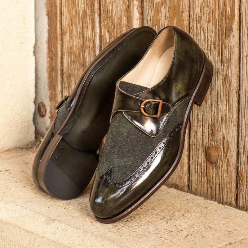 Custom Made Goodyear Welt Single Monks in Florantic Military Green Polished Calf with Camo Flannel