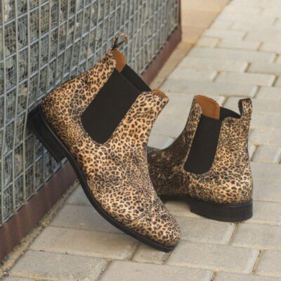 Custom Made Goodyear Welted Chelsea Boot Classic in Leopard Print Flannel