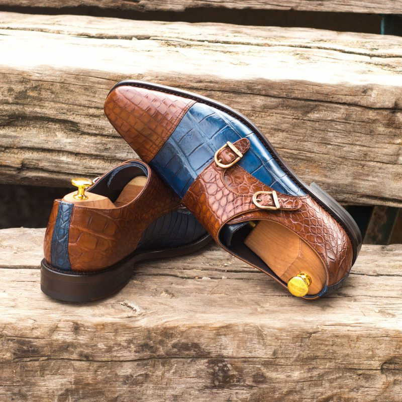 Custom Made Goodyear Welted Double Monks in Medium Brown and Navy Blue Genuine Alligator