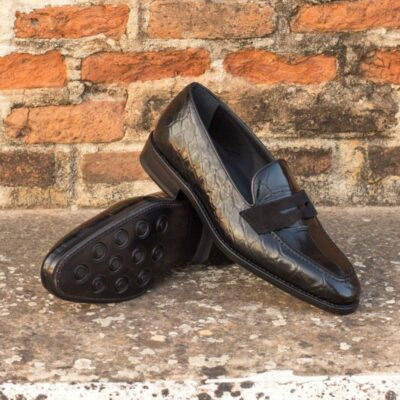 Custom Made Goodyear Welted Loafers in Black Genuine Alligator with Black Luxe Suede