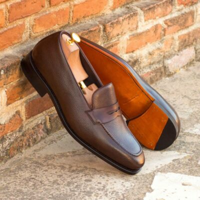 Custom Made Goodyear Welted Loafers in Dark Brown Painted Full Grain Leather with Dark Brown Box Calf