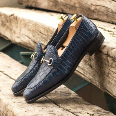 Custom Made Goodyear Welted Loafers in Navy Blue Genuine Alligator with Navy Blue Box Calf