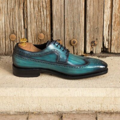 Custom Made Goodyear Welted Long Wingtip Blucher in Italian Raw Crust Leather with a Turquoise Hand Patina