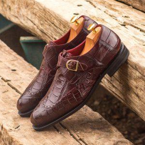 Custom Made Goodyear Welted Single Monks in Burgundy Genuine Alligator
