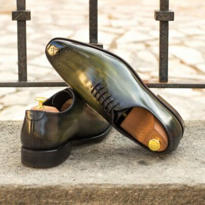 Custom Made Goodyear Welted Whole Cut Dress Shoes in Italian Raw Crust Leather with a Khaki Hand Patina