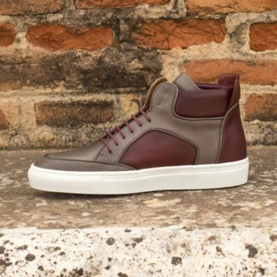 Custom Made High Top Multi in Burgundy and Grey Painted Calf Leather