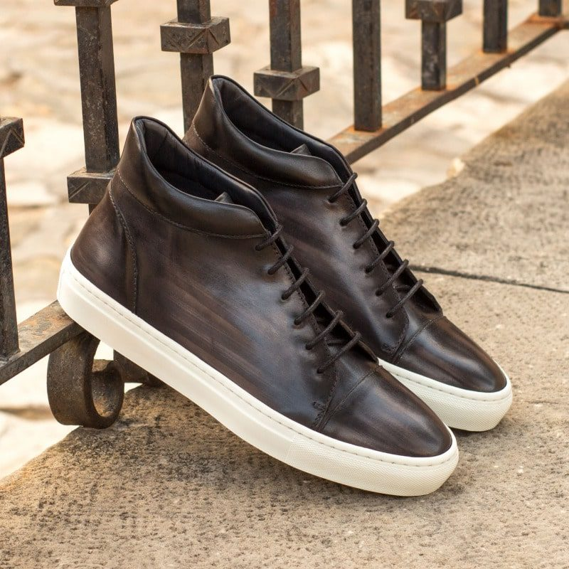 Custom Made High Top in Italian Raw Crust Leather with a Grey Hand Patina and Black Box Calf