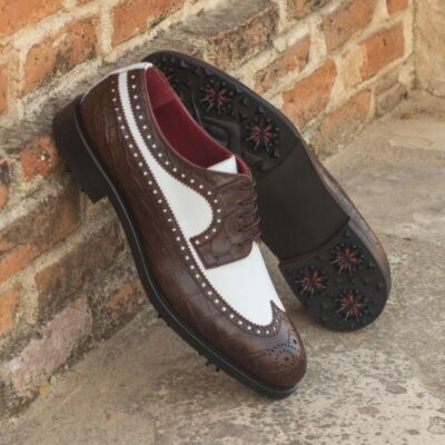 Custom Made Long Wingtip Blucher Golf Shoe in White Box Calf and Brown Croco with Softspikes®
