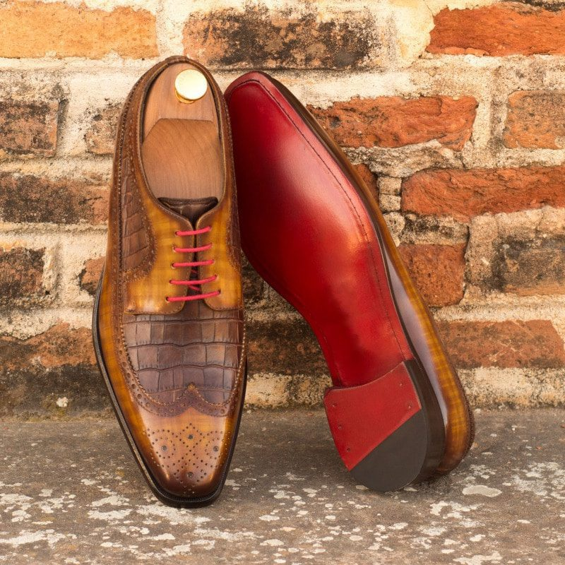 Custom Made Long Wingtip Blucher in Italian Raw Crust Leather with a Cognac Hand Patina and Brown Croco