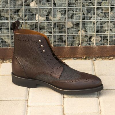 Custom Made Military Brogue Boot in Dark Brown Pebble Grain Leather with Dark Grey Flannel
