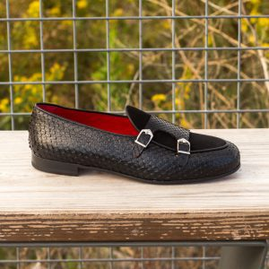 Custom Made Monk Slippers in Black Genuine Python with Black Suede and Painted Calf
