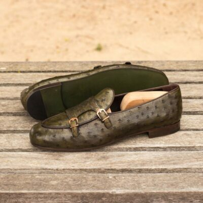 Custom Made Monk Slippers in Olive Green Genuine Ostrich with Dark Brown Painted Calf