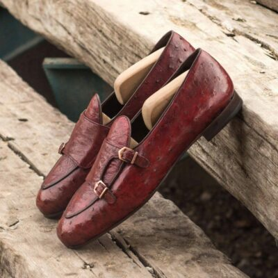 Custom Made Monk Slippers in Red Genuine Ostrich with Dark Brown Painted Calf