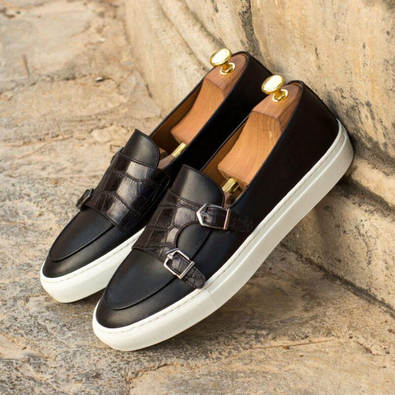 Custom Made Monk Sneakers in Black Painted Calf with Black Croco