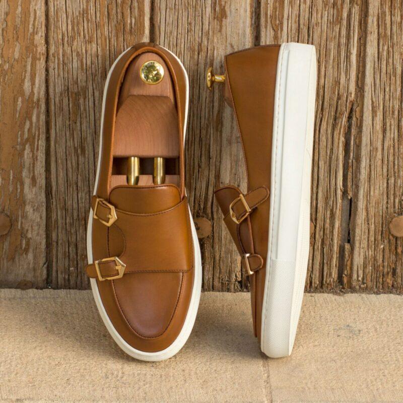 Custom Made Monk Sneakers in Cognac Box Calf