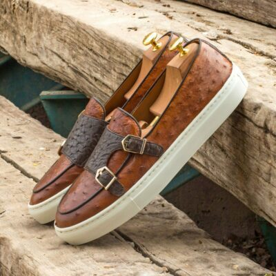 Custom Made Monk Sneakers in Cognac and Dark Brown Genuine Ostrich with Black Painted Calf