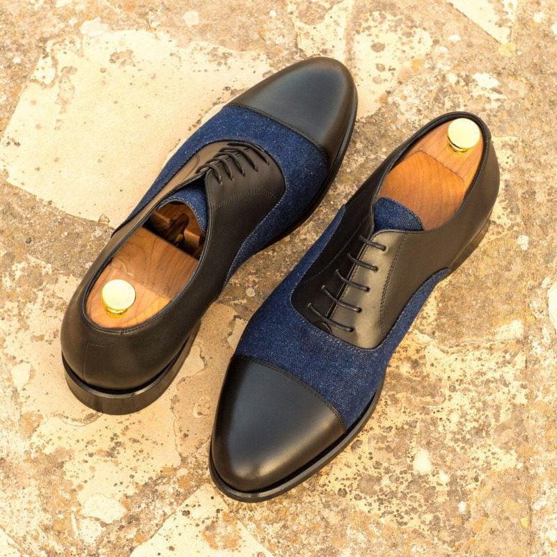 Custom Made Oxford in Black Box Calf and Denim Jeans