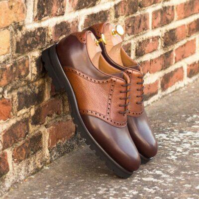 Custom Made Saddle Shoes in Dark Brown Box Calf and Medium Brown Painted Full Grain Leather