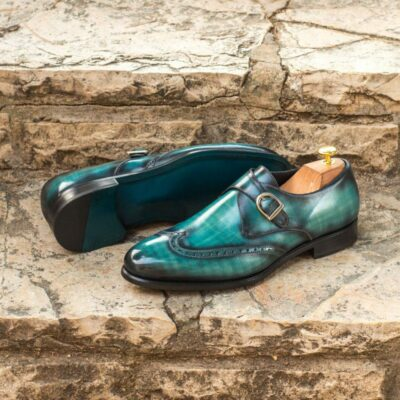 Custom Made Single Monks in Raw Crust Italian Calf Leather with a Turquoise Papiro Hand Patina