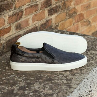 Custom Made Slip On in Black and Grey Genuine Ostrich with Black Pebble Grain Leather
