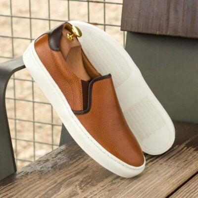 Custom Made Slip On in Cognac and Dark Brown Painted Full Grain Leather